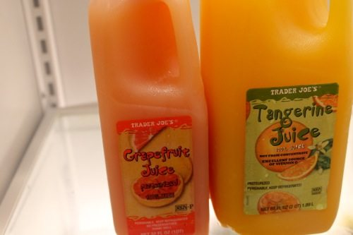 tangerine and grapefruit juice for morning mocktail