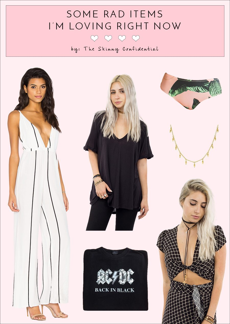 the skinny confidential, lauryn evarts, white striped jumpsuit, black tshirt, palm print bikini, acdc shirt, crop top, edgy necklace