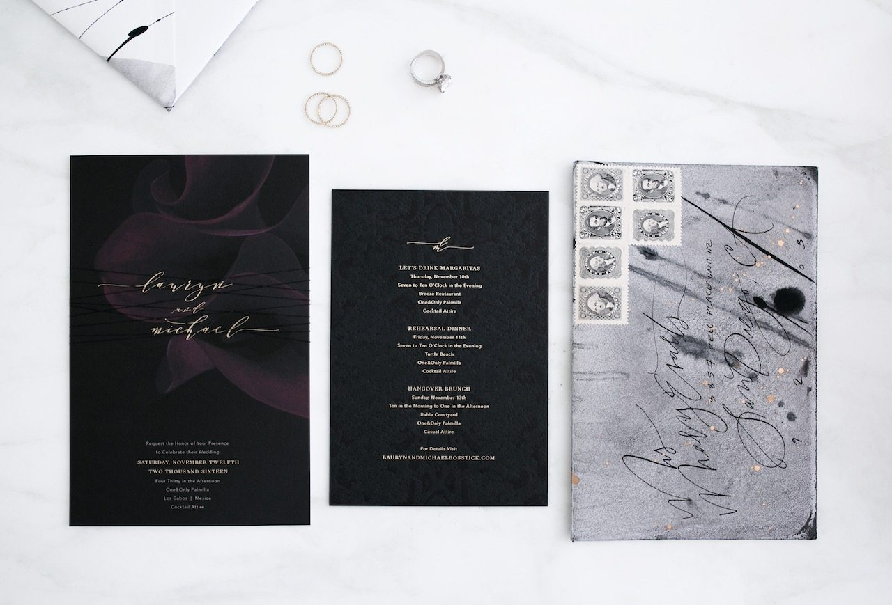 modern gothic wedding invitation | by the skinny confidential